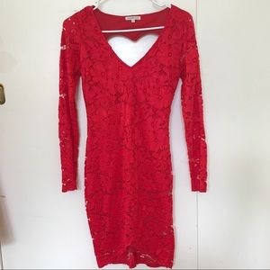 Red Lace Long-sleeved Bodycon Mini Dress